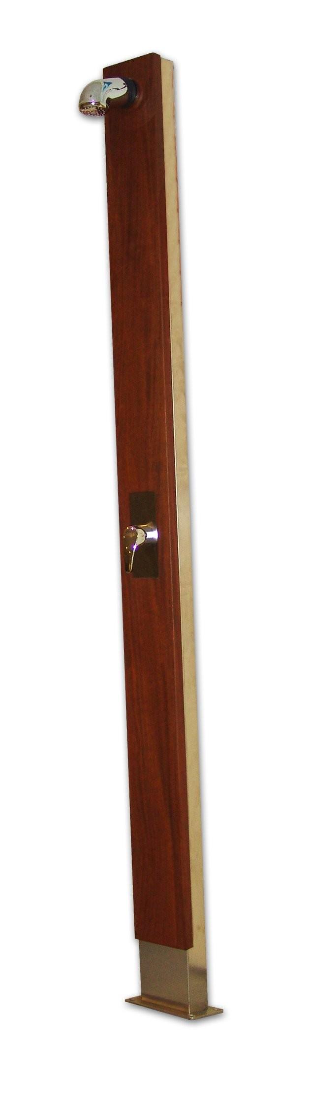 Ducha dise o de madera inox certikin piscinas ferromar - Duchas de madera ...