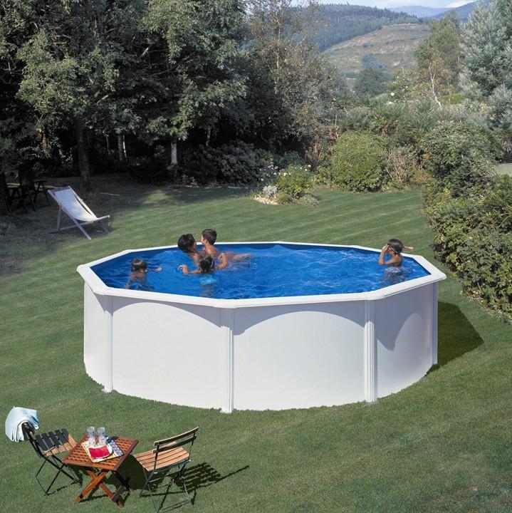 Piscina desmontable gre redonda fidji blanco piscinas for Piscinas ferromar