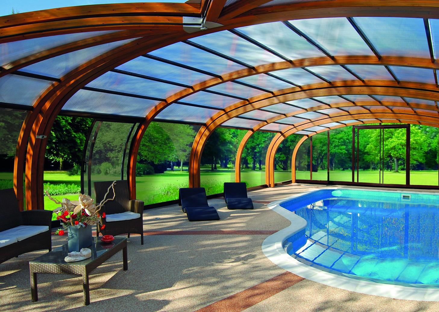 Cubierta de piscina en madera abrisud piscinas ferromar for Piscinas ferromar