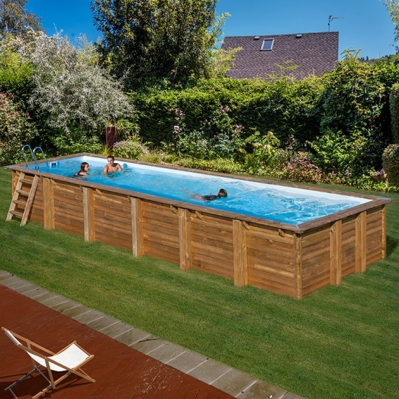 Piscina de madera rectangular gre sunbay anise piscinas for Piscina desmontable rectangular