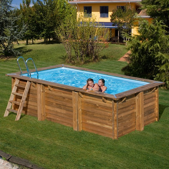 Piscina de madera rectangular gre sunbay marbella for Precios piscinas desmontables