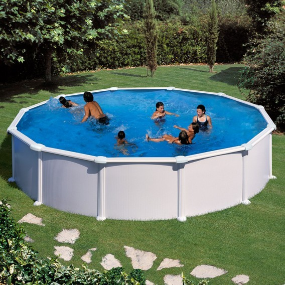 Piscina desmontable gre redonda atlantis blanco piscinas for Piscina redonda desmontable