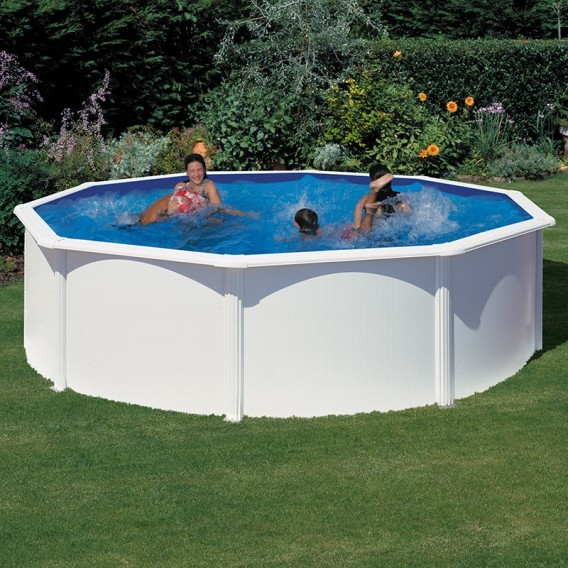 Piscina desmontable gre redonda fidji blanco piscinas for Piscina redonda desmontable