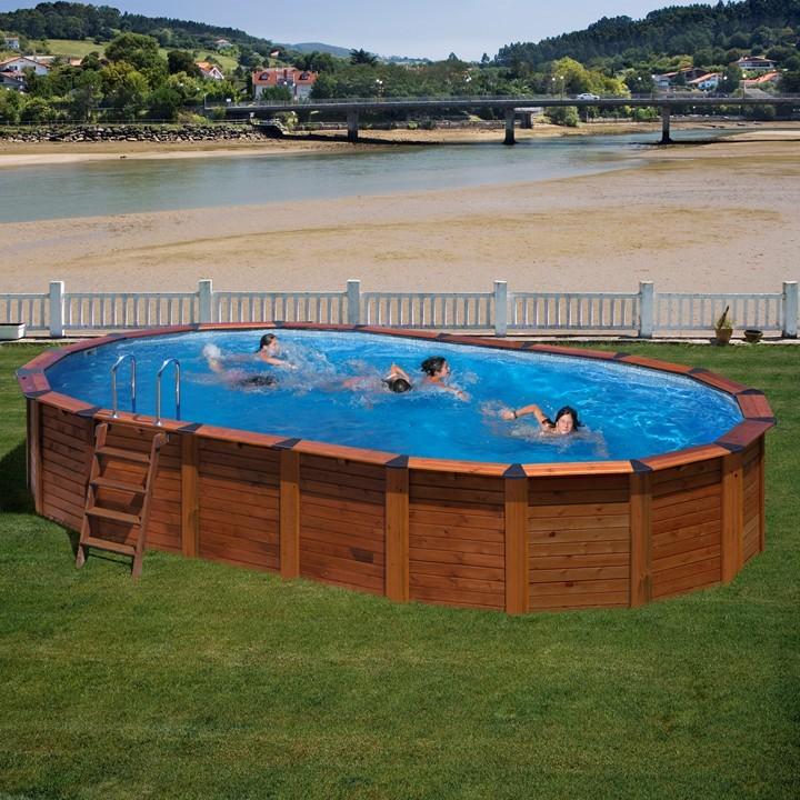 Piscina desmontable madera gre ovalada island piscinas for Piscinas ferromar