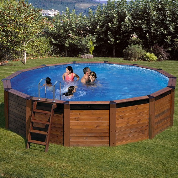 Piscina desmontable madera gre redonda hawaii piscinas for Piscina redonda desmontable