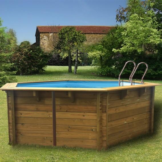Piscina desmontable madera gre hexagonal piscinas ferromar for Piscinas ferromar