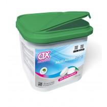 Cloro multiacción en tabletas de 250 g con función desinfectante, alguicida y floculante.