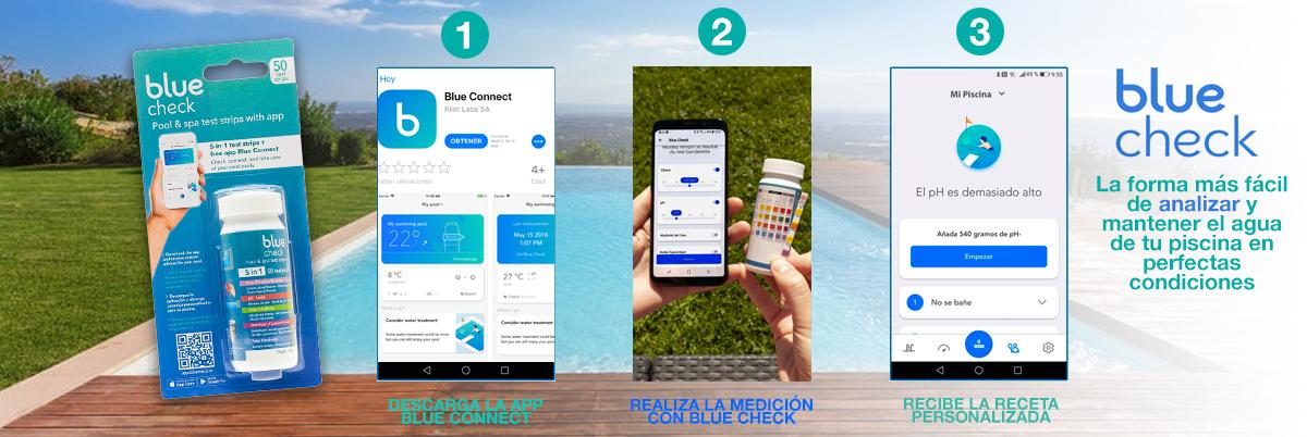 tiras analíticas del agua de su piscina con receta de blue connect