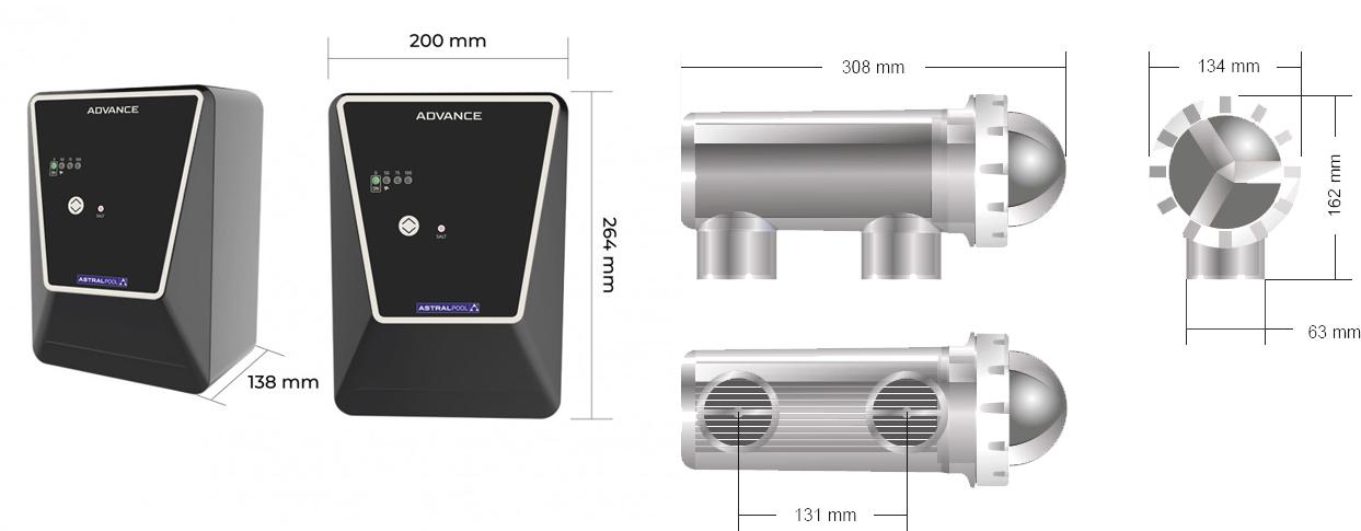 Dimensiones Clorador Salino Advance de Astralpool